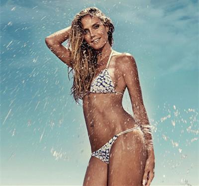超模Heidi Klum拍摄最新泳装广告大片