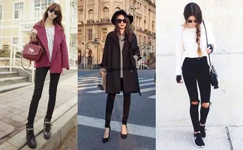 秋冬穿衣搭配技巧示范 黑鞋+黑裤子显高显腿长