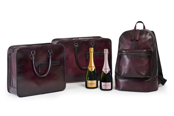 库克香槟携手Berluti推出香槟名酒收纳皮革背包