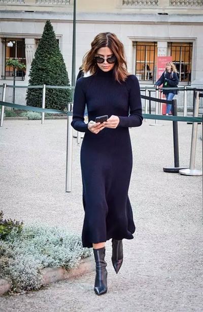 秋季服装流行趋势示范 长款针织连衣裙优雅又显瘦