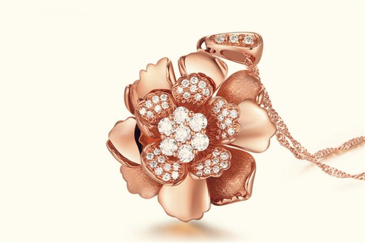 潮宏基珠宝盛世牡丹-韵味18K金彩金钻石吊坠项坠项链_珠宝图片