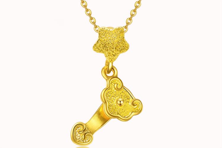 潮宏基珠宝称心如意黄金项链吊坠足金链挂坠_珠宝图片
