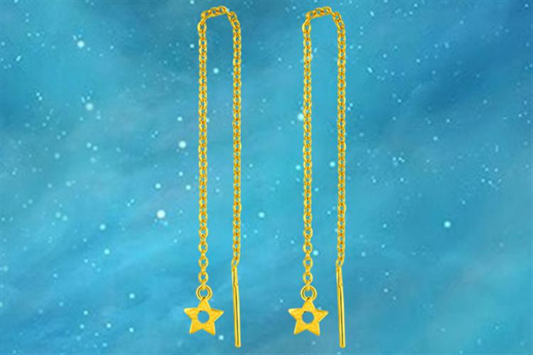 潮宏基珠宝极简菱思-星星耳线足金耳钉黄金耳环_珠宝图片