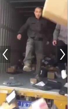 快递员脚踢卸货 暴力分拣视频为员工恶意自导自演