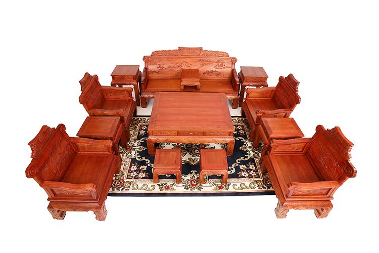 红木家具价格:缅甸花梨(大果紫檀)山水楼亭沙发十三件套多少钱?