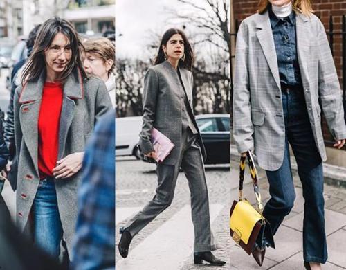 时尚达人街拍造型示范 灰色大衣是时候该出动了
