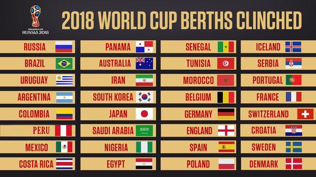 世界杯32强名单 秘鲁击败新西兰获得最后一张门票