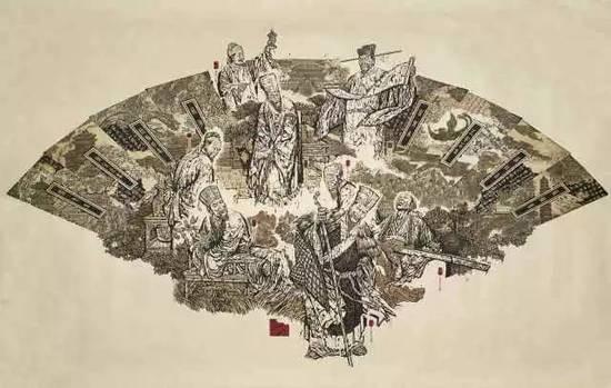代大权巨幅套色版画《歌尽桃花》欣赏