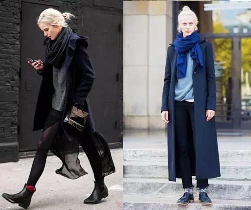 欧美达人街拍穿搭示范 系上围巾自带优雅气质