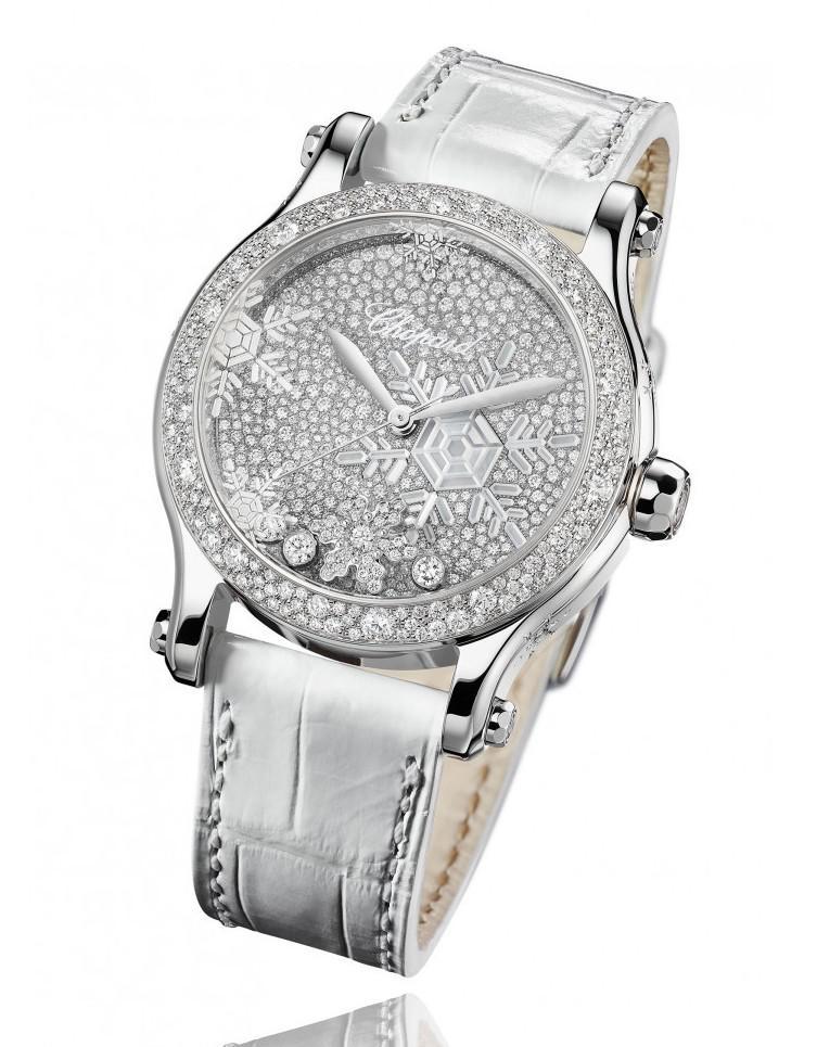 萧邦珠宝推出高级珠宝钻石腕表新作:Happy Snowflakes