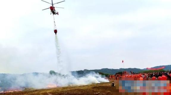 建德基地K-32私人直升机参与森林消防地空配合实战演练