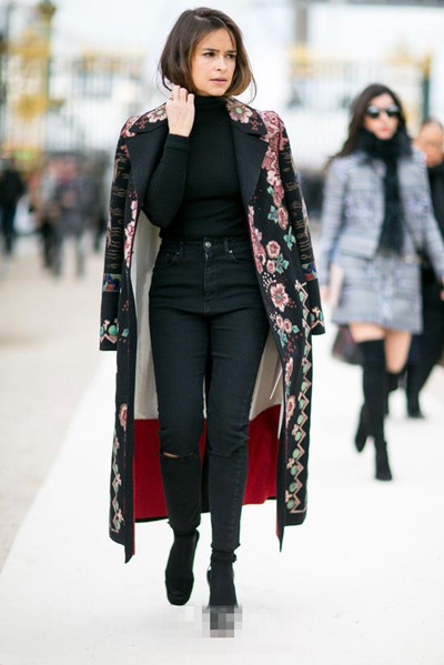 欧美达人冬季街拍示范 长大衣真的一点不显矮