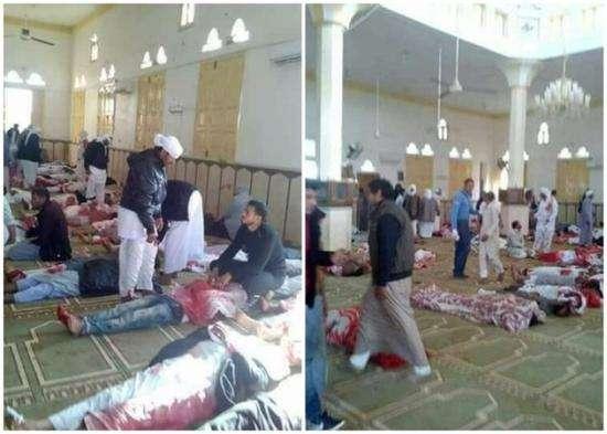 埃及清真寺遇袭致235死130伤 尸横遍野