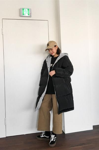 冬季穿衣搭配造型示范 黑色棉袄竟然也能这么好看