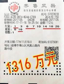 山东彩民8+2复式揽双色球1316万