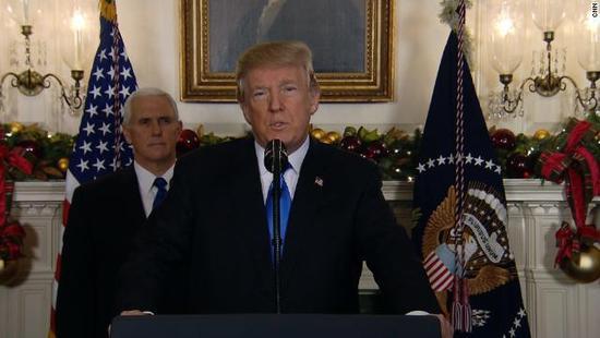 特朗普正式承认耶路撒冷为以色列首都 巴勒斯坦回应