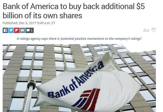 美国银行追加50亿美元股票回购金额