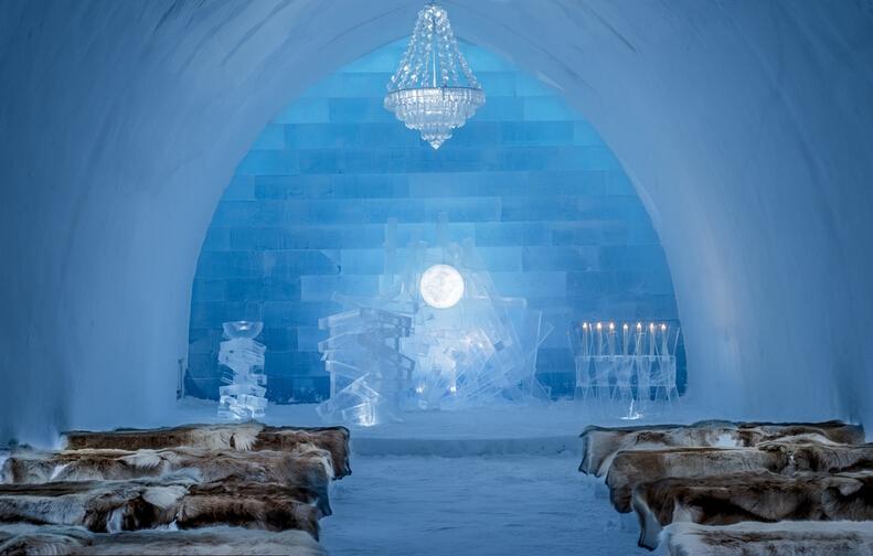 全球最冷酒店冰酒店 Icehotel内景