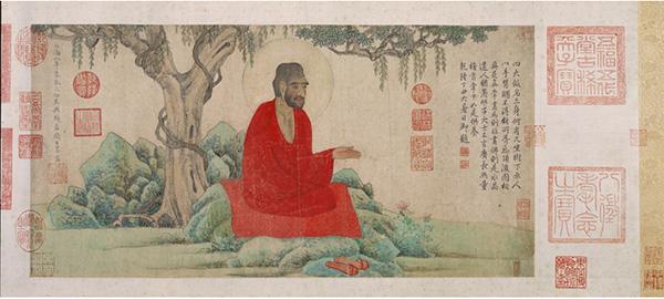 赵孟頫红衣罗汉图卷  辽宁省博物馆藏