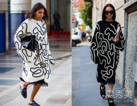 欧美穿衣搭配技巧示范 长款针织裙时髦又显瘦