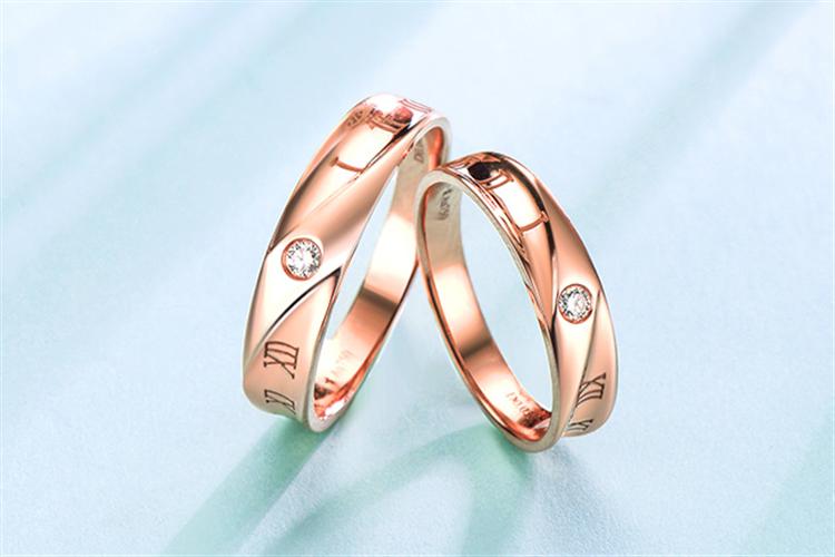 周大生珠宝数字符号18k玫瑰金情侣对戒钻戒_珠宝图片