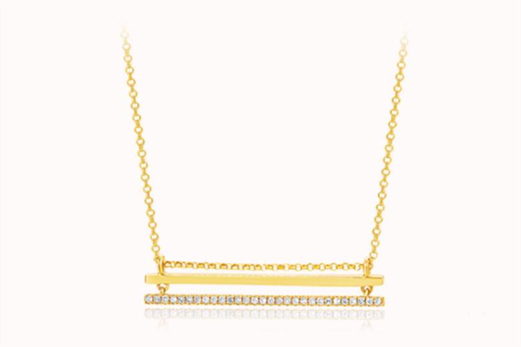 周大生珠宝SHE系列-云梯之巅18K黄微镶钻石套链_珠宝图片