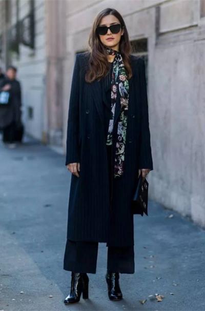 欧美冬季街拍穿搭示范 除了半身长裙还有阔腿裤呢