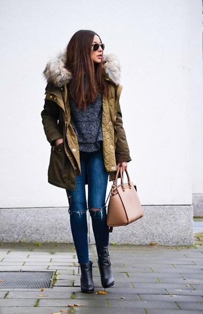 欧美街拍造型示范 派克大衣让你的冬季充满暖意