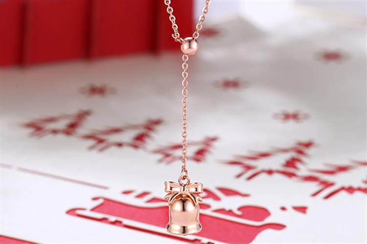 潮宏基珠宝圣诞铃铛红18k金项链玫瑰金套链_珠宝图片