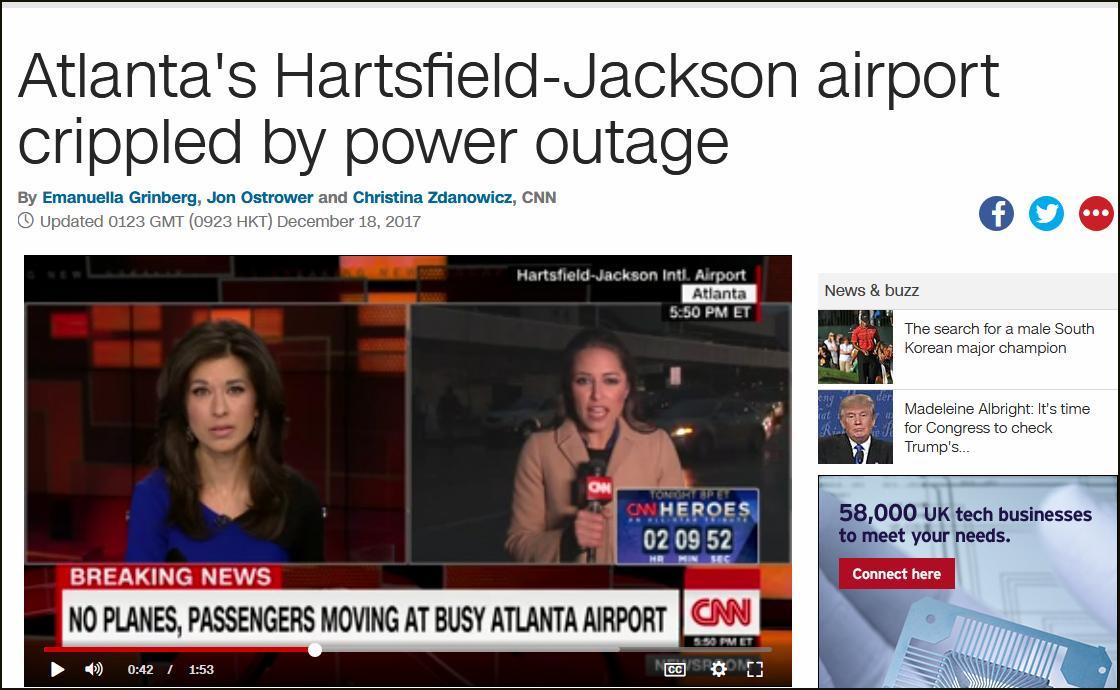 世界最繁忙机场停电 造成数百个航班延误或取消