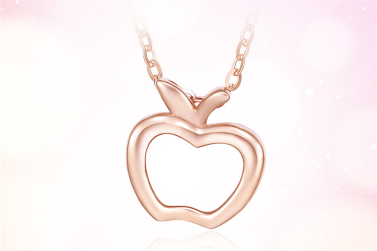 周大生珠宝18k金项链彩金玫瑰金苹果锁骨套链_珠宝图片
