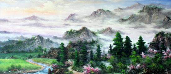 季世山巨幅山水油画收藏鉴赏