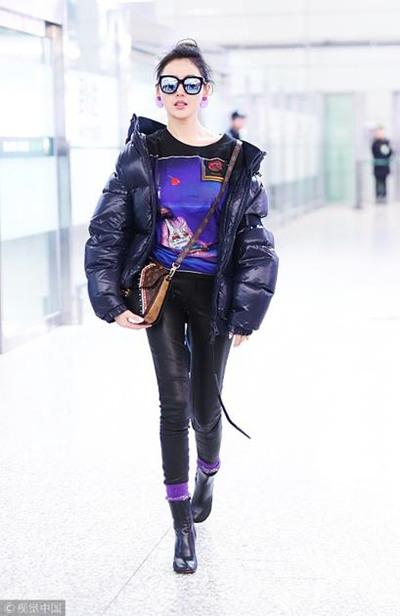 明星服装流行趋势示范 老气紫色竟也能这么时髦