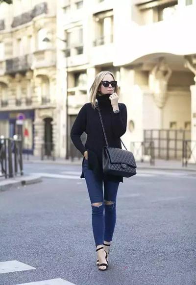 """达人服装流行趋势示范 高领毛衣与""""时尚""""不沾边?"""