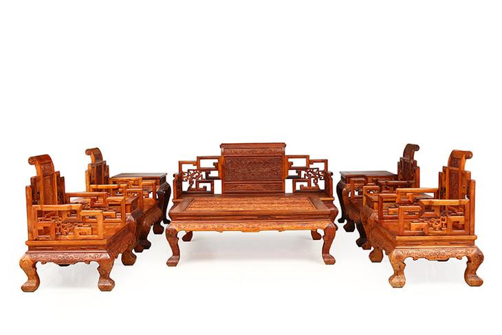 红木家具价格:越黄九龙卷书宝座沙发价格是多少?