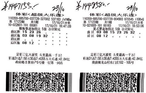 一人两张彩票分别中288万 奇人究竟是谁?