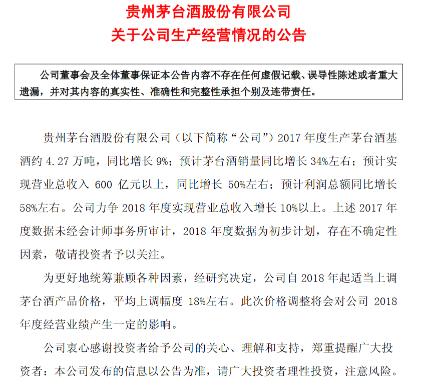 贵州茅台:预计明年上调茅台酒价格18%