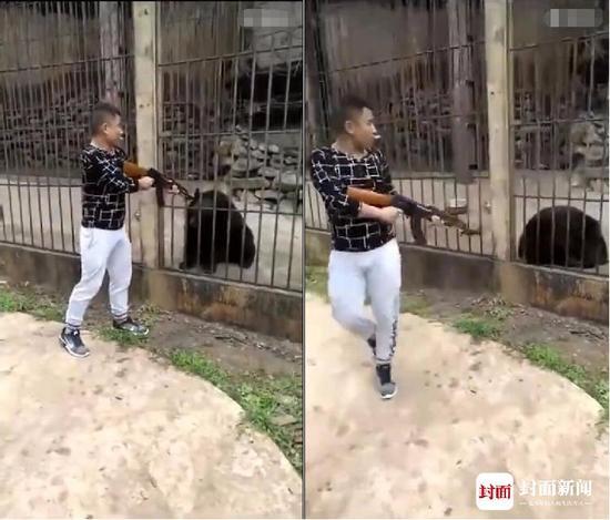 男子持枪打死在铁笼中黑熊 并蹲在地上剥肉
