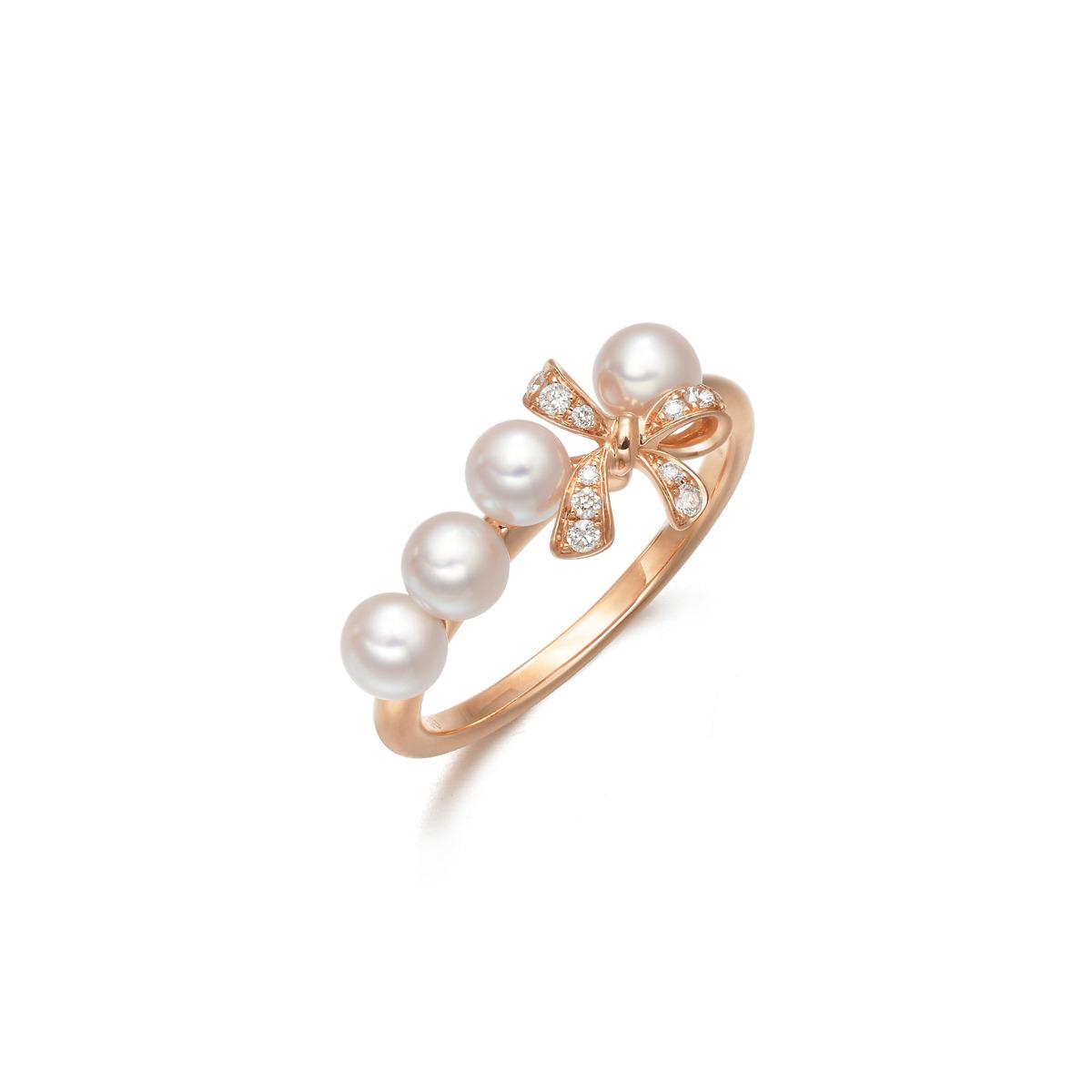 周生生「Daily Luxe」18K黄金Akoya养殖珍珠戒指_珠宝图片