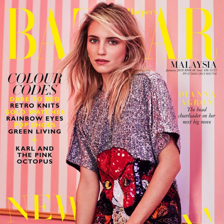 女星Dianna Agron登上《Harper's Bazaar》杂志马来西亚版2018年1月号封面