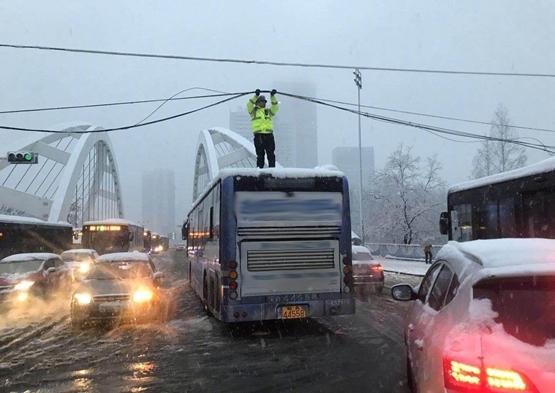 """暴雪压断电缆 """"托举哥""""变线杆举电缆 网友点赞"""