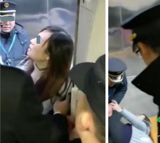 女子阻碍高铁发车 为等老公用身体霸占车门