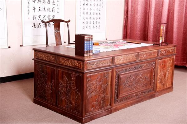 红木家具价格_大红酸枝喜上眉梢办公桌价格