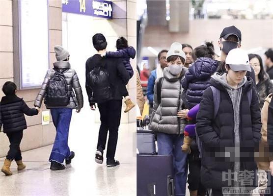 邓超带家人现身机场 抱着小花妹妹爸爸力十足