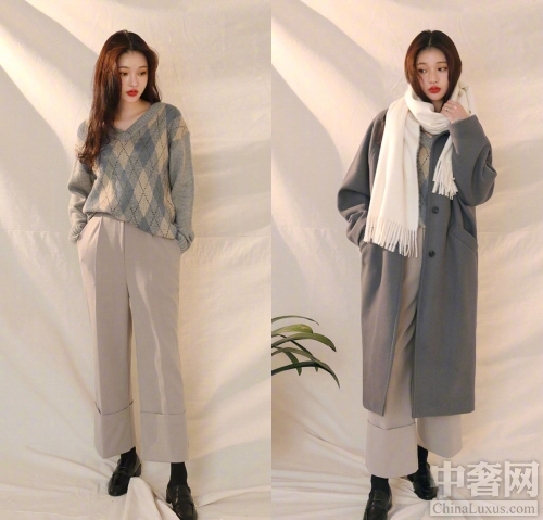 外套和内搭穿衣搭配技巧示范 整体看来比较有层次感