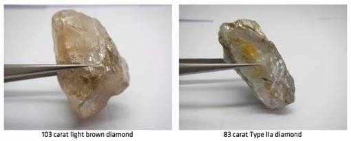 Gem Diamonds和Lucapa公司再次发现巨钻 重量大于100克拉