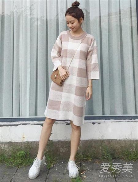 冬季毛线裙穿衣搭配示范 3个技巧告诉你!