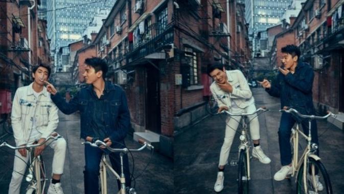 赵又廷林更新组CP登封面 俩人骑着自行车在弄堂互动
