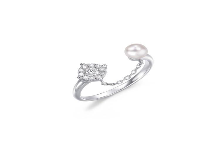 周生生「Daily Luxe」Akoya养殖珍珠铂金戒指_珠宝图片
