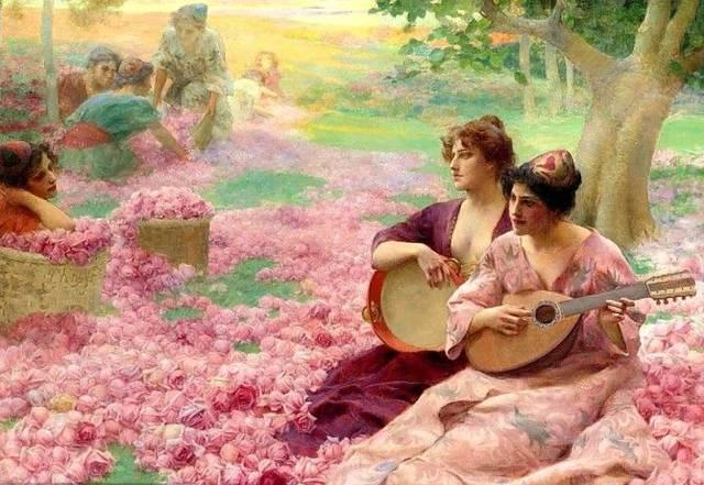 油画里,鲜花和美女更配哦!